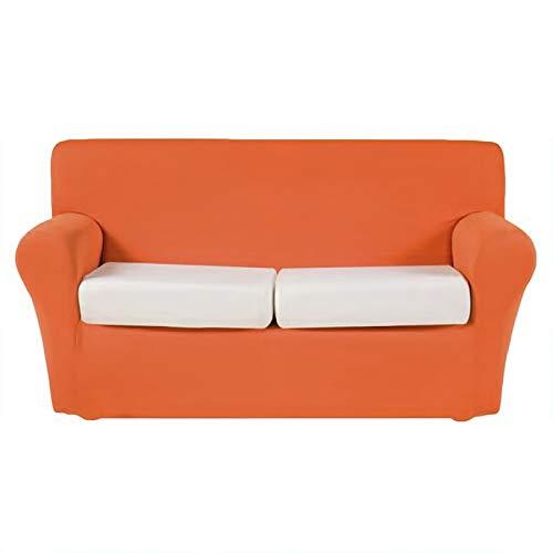Neja Home - Copridivano Bielastico Morbido Tessuto Tinta Unita 2/3/4 Posti (Arancione, 3 Posti)