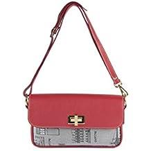 PalladioBags, borsa VILLA LA MALCONTENTA - Pochette con tracolla staccabile. Colore rubino. Interamente fatta a mano in Italia