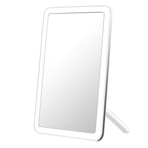 LE Kosmetikspiegel mit 24 LEDs, aufladbarer Makeup Spiegel, Weiß Tischspiegel, usb Schminkspiegel, dimmbar