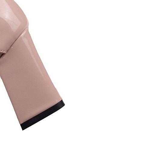 VogueZone009 Femme Boucle à Talon Haut Pu Cuir Couleur Unie Pointu Chaussures Légeres Nu