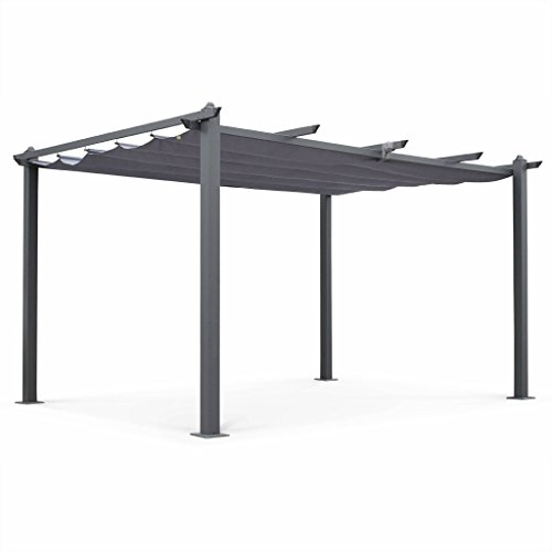 Alice's Garden Pergola Aluminium - Condate 3x4m - Toile Grise - Pergola Idéale pour Votre Terrasse, Toit Retractable, Toile coulissante, Structure Aluminium
