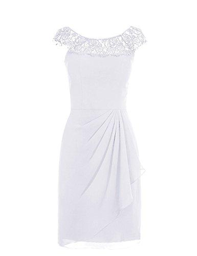 Dresstells, robe courte de demoiselle d'honneur mousseline sans manches, col ras du cou en dentelle Blanc