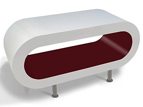 Zespoke Design Tableau Blanc Bordeaux Brillant Cerceau Café TV/Meuble en Différentes Tailles