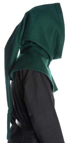 Mittelalter Gugel Schafwollfilz schwarz braun grün rot naturbeige Mittelalterliche Kleidung Grün