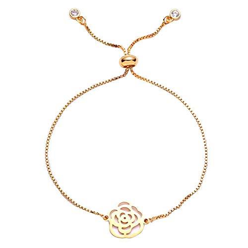 Kaikso-In Kreatives Armband Mode Strass-Anhänger Mutter Tag Armband Fashion Edelstahl Pendant Bracelet (D)