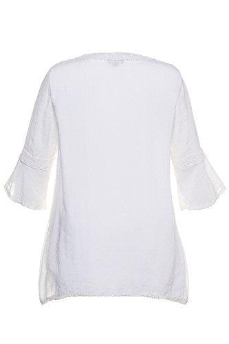 Ulla Popken Femme Grandes Tailles Femmes Occasionnel Manches Longues T-Shirt de Mousseline Tops en Vrac Chemisier 715118 Blanc