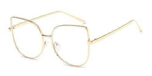 BOZEVON Mode Brille Cateye Metallgestell Brillenfassung Pilotenbrille Aviator Retro Dekobrillen,...