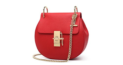 Honeymall Borsa a tracolla spalla Mini borsa / catena maialino nuovo pepe stile retrò moda piccole diagonali Grande Marrone Rosso Grande