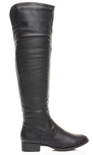 Damen Flach Kleiner Absatz Reißverschluss Reiten Einfach Overkneestiefel Größe Schwarz