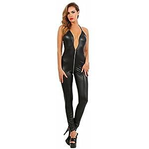 Miss Noir Overall im Wetlook Rückenfreier Playsuit 2-Wege-Reißverschluss Exklusives Clubwear