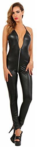 Miss Noir Wetlook Overall Playsuit Jumpsuit Exklusives Clubwear Lederlook Rückenfreier Bodysuits mit 2-Wege-Reißverschluss von vorne bis hinten (XL/42)
