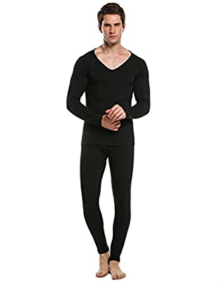 Ekouaer Men Thermal Underwear Set V-Neck Raglan Long Sleeve Top and Bottom Sleepwear