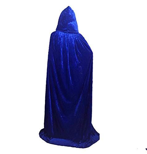 HOMEYJ Voller Länge Kapuzen Umhang Unisex Erwachsene Cape Cosplay Kostüme für Karneval und Halloween, Blue (Blue Cape Kostüm)