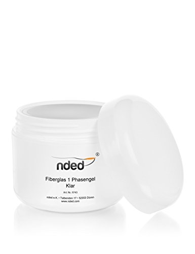NDED Fiberglas 3-in-1 Phasen-Gel - Professionelles Fiberglasgel - All-in-One-Gel - UV Glanz-Gel, Klar, NDED, mittelviskos, 50 ml, UV geeignet, säurefrei