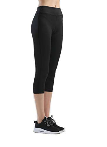 SILIK Mujeres Deportes Entrenamiento Deportivo Leggings Yoga Pantalones Gimnasio Pantalones Correr Medias Capri Negro 02 L