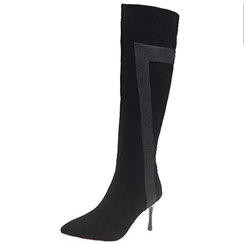 Hotopick Bottes Hautes Mode pour Femmes Hiver Thin Zipper Chauds High Talons Party Bout Pointu Boots