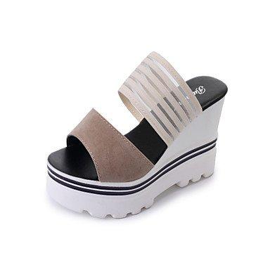 Zormey Damen Sandalen Schuhe Club Kunstleder Außenpool Im Sommer Kleid And Walking Keilabsatz Schwarz Mandel 2-In-2 3/4 In US6.5-7 / EU37 / UK4.5-5 / CN37