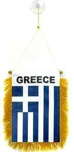 FANION GRÈCE 15x10cm - Mini drapeau GREC 10 x 15 cm spécial voiture - Bannière - AZ FLAG