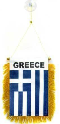 AZ FLAG Fanion Grèce 15x10cm - Mini Drapeau Grec 10 x 15 cm spécial Voiture - Bannière