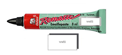 emaille lack Helmecke & Hoffmann Remalle Emaille Paste Emaillelack Reparaturlack Lack in vielen Farben je 8 ml + Pinsel Fuer Jede Tube (weiß)