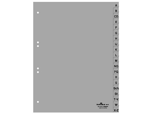 Durable 651010 A-Z Register (A4 geprägte Taben, A-Z 20tlg. aus PP, volldeckend) 20 Stück grau