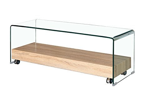 Meubletmoi TV Möbel, Glas Transparent – Tablett Rollende Basis aus Holz Dekor Eiche – Modernes Design – Ice
