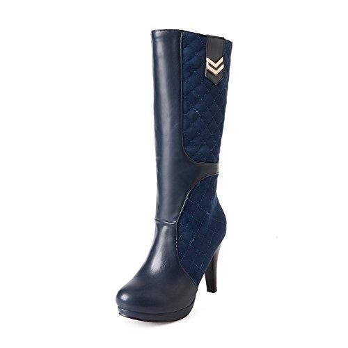 AgooLar Damen Rund Zehe Blend-Materialien Ziehen auf Hoher Absatz Stiefel, Blau-Metallstück, 39
