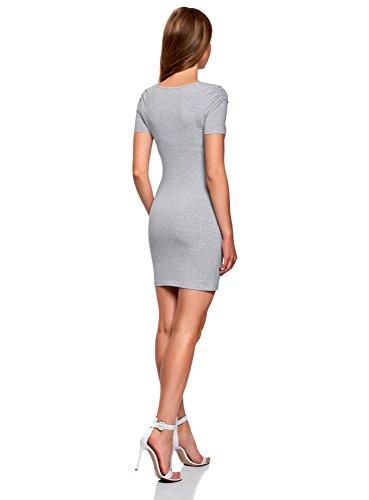 oodji Ultra Damen Enges Kleid mit V-Ausschnitt Grau (2000M)