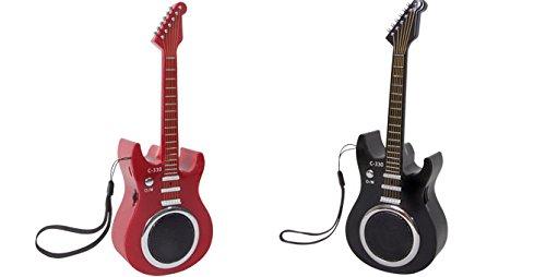 FM Radio und Lautsprecher Design Gitarre. Lithium-Akku, LED-Display, AUX, MP3, MP4, Mobiltelefon, PC USB und TF Karte. Rot oder Schwarz. 1Stück -