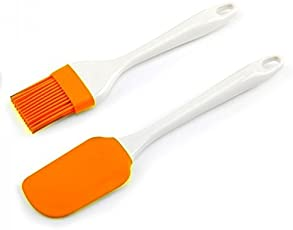 Right Products Heat Resistance Plastic Silicon Spatula and Pastry Brush Set, 25 cm (Multicolour, 238326)