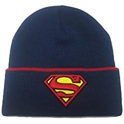 Superman - Gorro oficial Beanie punto Modelo Cuff para niños niñas adolescentes (Talla Única/Azul/Rojo)
