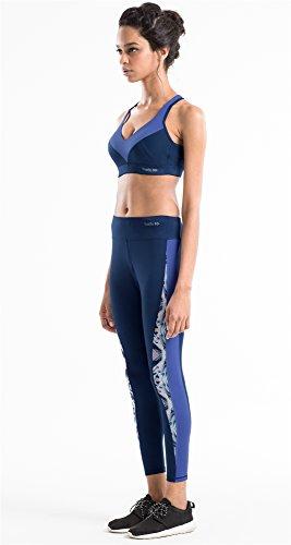 Yvette Damen V Ausschnitt Starker Halt Ringerrücken Fitness Running Active Sport-BH Joggen Bra Unterwäsche Mit Einlagen Ohne Bügel HM0070011 Mehrfarbig