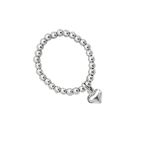 Valentinstag Beau Soleil Jewelry 925 Sterling Silber Schmuck Ring Damen mit Herz Anhänger Charm (52 (16.6)) (Womens La Sterne Beaux)