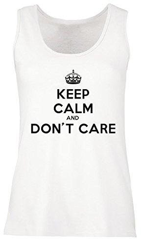 Keep Calm And Don't Care Donna Canotta T-shirt Bianco Cotone Girocollo Maniche Corte White Men's Tank T-shirt