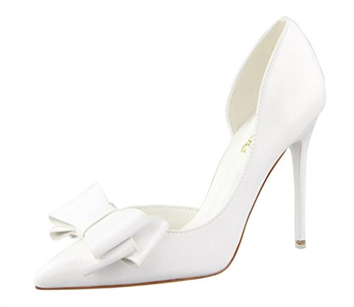 Primavera Estate donne pompa i pattini dolce Bowknot con tacco sottile di colore rosa scarpe tacco alto a spillo a punta cava White