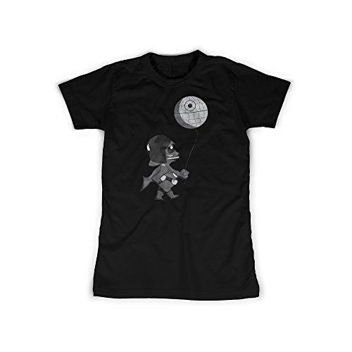 t mit Aufdruck in Schwarz Gr. L Little Lord Todesstern Design Girl Top Mädchen Shirt Damen Basic 100% Baumwolle Kurzarm (Sith-lord-outfit)