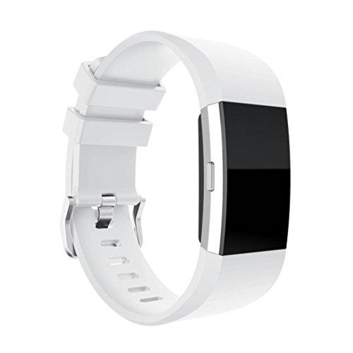 OVERDOSE Armband für Fitbit Charge 2, Neue Art und Weise Glatte Oberfläche Ersatz Sport Silikon-Armband Bügel-Band für Fitbit Charge 2 (Weiß, 145-210mm)