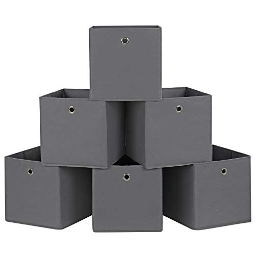 SONGMICS 6 Stück Faltbare Aufbewahrungsbox Faltbox mit Fingerloch 30 x 30 x 30 cm Grau RFB02G-3