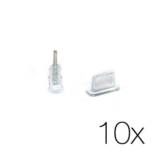 10x Schutzstöpsel Set Transparent - 10 Paar Staubschutz Stecker Staubschutz für Kopfhörer und Lightning Stecker Staubschutz für Apple iPhone 6/6s, iPhone 6 Plus/6s Plus, iPhone 5/5s/5c/SE, iPad Air, iPad Mini 1-4, iPad 4 in transparent von MC24