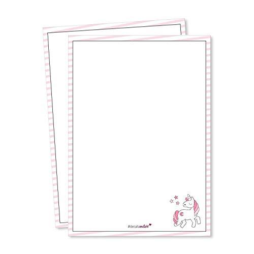 #detailverliebt 2er Set Einhorn Schreibblöcke I dv_119 I DIN A6 I Notizblock Malblock Schreibpapier mit Motiv rosa blanko ohne Linien geleimt zum Abreißen