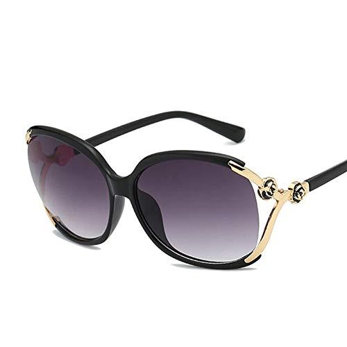 YongFeng Neue europäische und amerikanische Mode-Metall-Sonnenbrille mit großen Kamelien-Sonnenbrillen für Damen JF (Color : C)