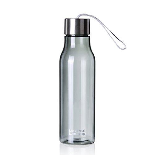 UPSTYLE creativo colorido transparente plástico botella para hacer deporte con cuerda de nailon sin BPA bebidas botellas de agua a prueba de fugas par taza de viaje para café, té, zumo, leche Tamaño 600ml, plástico, negro, 600