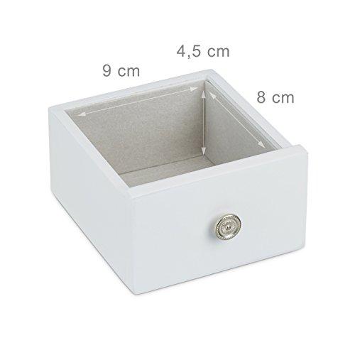 Relaxdays Schmuckkästchen mit Tür H x B x T: ca. 30 x 26 x 11 cm großer Schmuckkasten mit 4 Fächern Schmuckschrank aus Holz mit Schubladen und Spiegel Schränkchen mit Schmuckhalter für Ketten, weiß - 5