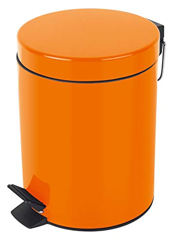 Spirella colección Sydney, Papelera con Pedal Ø20 x 27 cm 5 litros, Metal, Naranja
