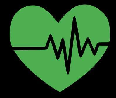 Vinyl-Aufkleber, Motiv Claremore Heart Beat, Mehrfarbig, 14 x 12 cm, grün -