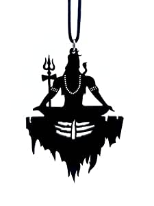 "Clean & Clever Car Logo Lord Shiva on Mount Kailash with Tilak Hanging Spiritual Ornament Decor for Rear View Mirror, 4"" inch Height (Black)"