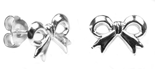 Arranview Jewellery Child's Silver Bow Stud Earring (10 mm by 6 mm) - 925 Sterling Silver