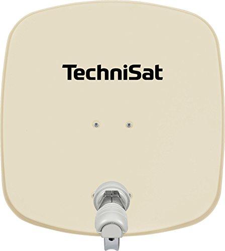 TechniSat DIGIDISH 45 Satellitenschüssel, 45 cm Sat-Anlage mit Wandhalterung und Universal V/H Single-LNB (Ein Teilnehmer) inkl. An-Rohr-Fitting beige