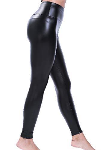 FITTOO Mujeres PU Leggins Cuero Brillante Pantalón Elásticos Pantalones para Mujer200#3 Terciopelo...