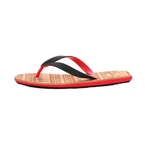 Baymate Herren Zehentrenner Strand Flip Flops Komfort Sandalen Dusch Badeschuhe Rot